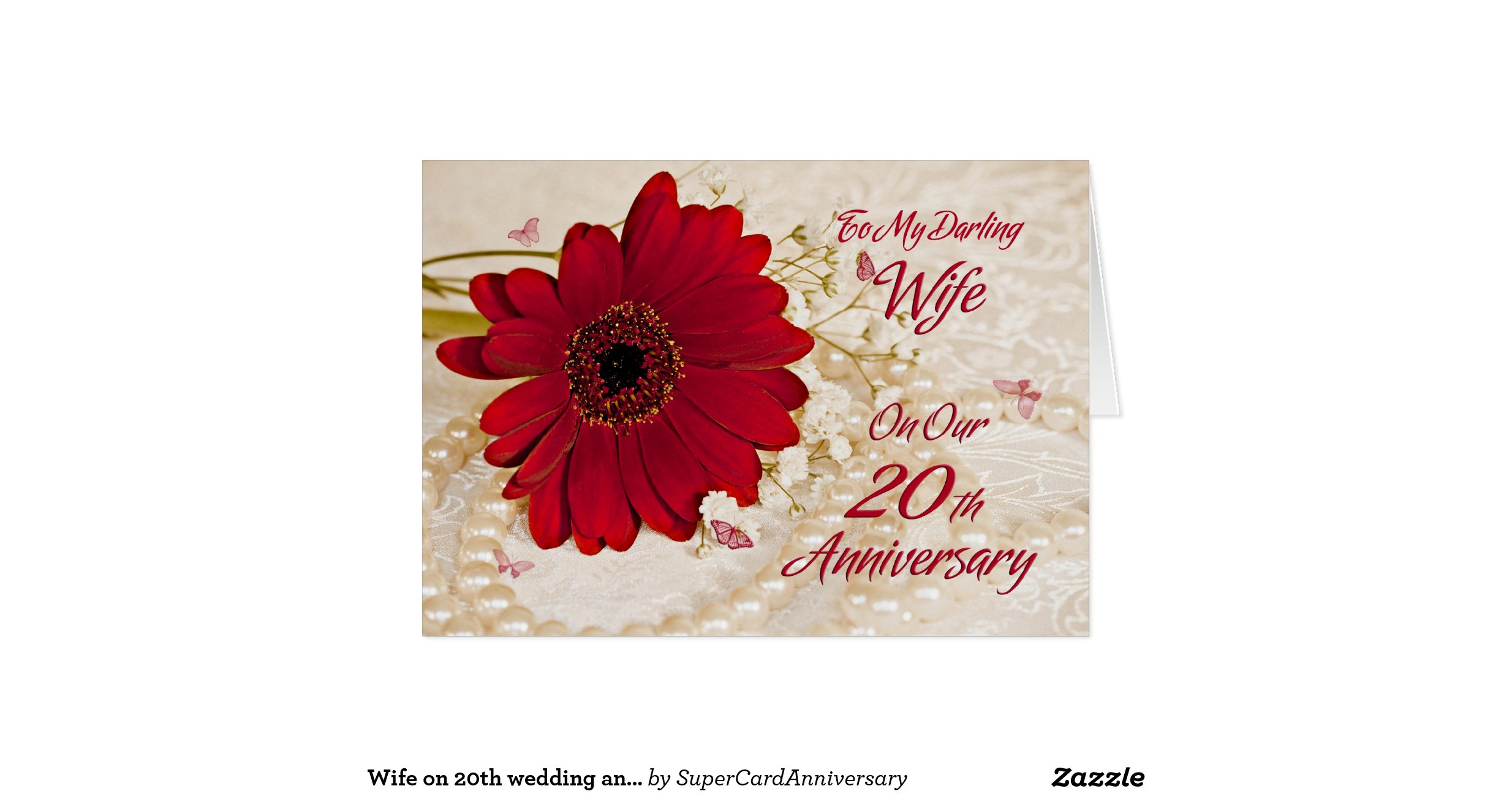 20th Wedding Anniversary Gift For Wife: Wife On 20th Wedding Anniversary, A Daisy Flower Greeting