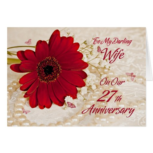 Wedding Night Gift For Wife: Wife On 27th Wedding Anniversary, A Daisy Flower Card