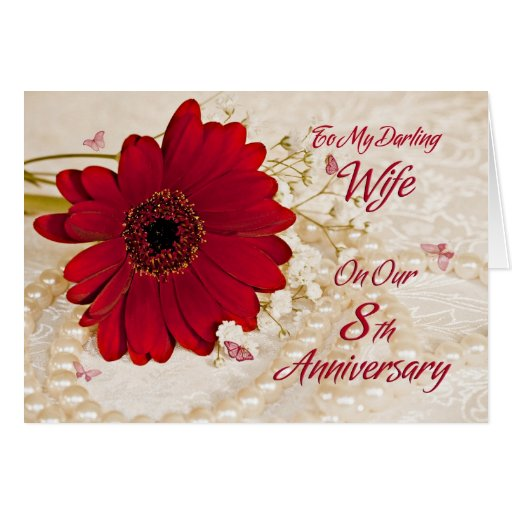 Eighth Wedding Anniversary Traditional Gift: Wife On 8th Wedding Anniversary, A Daisy Flower Card