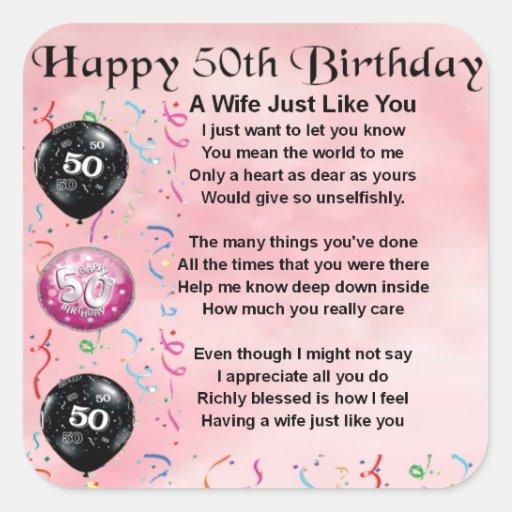 Wife Poem - 50th Birthday Square Sticker