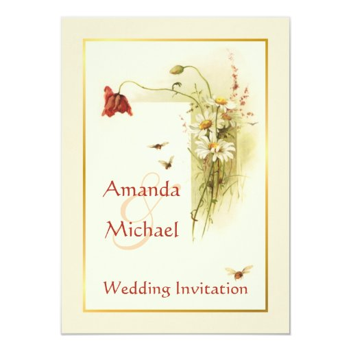 Wild Flowers For Wedding: Wild Flowers Wedding Invitation