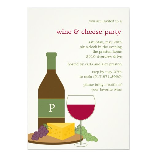"""Wine and Cheese Party Invitations 5"""" X 7"""" Invitation Card ..."""