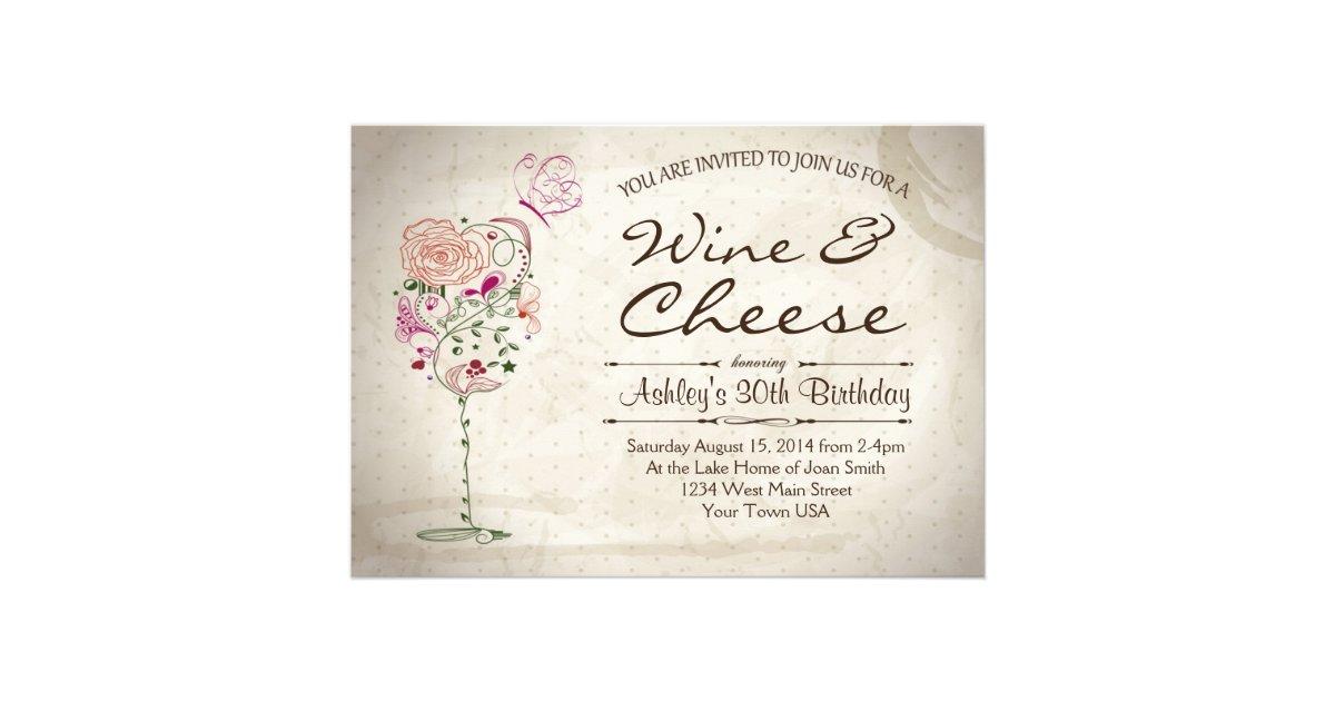 Wine Cheese Birthday Invitation