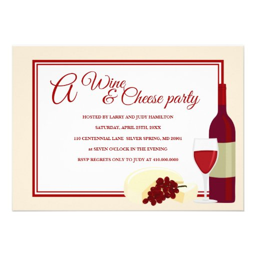 "Wine & Cheese Party Invitations 5"" X 7"" Invitation Card ..."