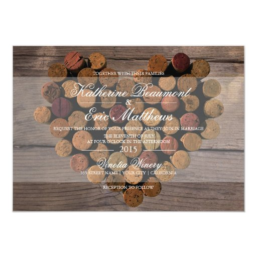 Cork Wedding Invitations: Wine Cork Rustic Wedding Invitation