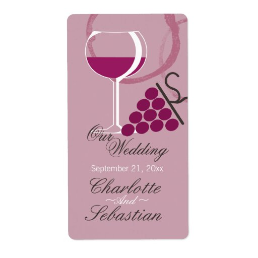 Wine label wine glass and grapes template zazzle for Avery wine label templates