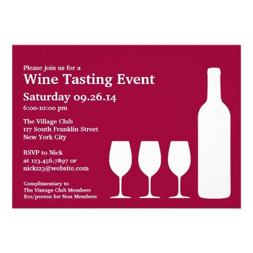 "Wine Tasting Event Flat Invitation 5"" X 7"" Invitation Card ..."