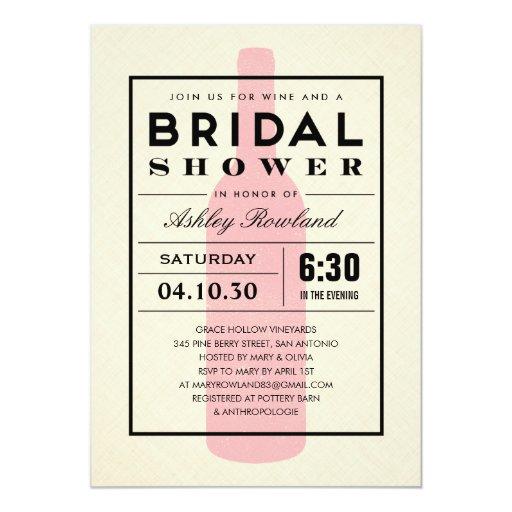 Wine Themed Bridal Shower Invitations