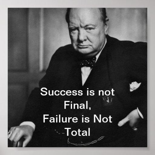 Winston Churchill Victory Quote: Winston Churchill - Desk Poster - Success