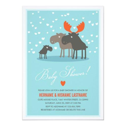 Family Baby Shower Invitations: Winter Deer Family Couples Baby Shower Invitation