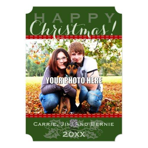 Winter Sleigh Ride Mountain Christmas Photo Card