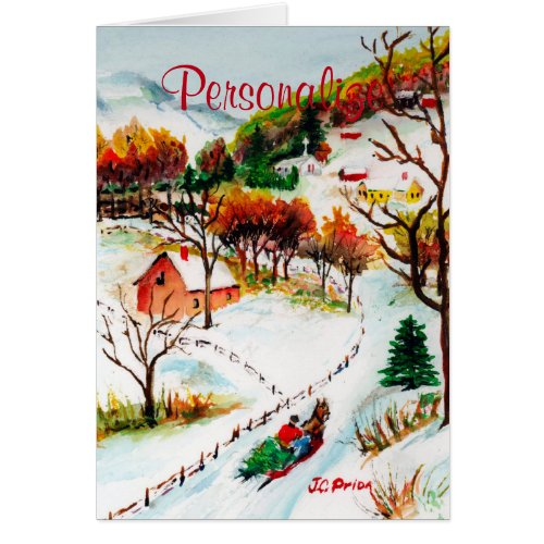 Winter Sleigh Ride Mountain Christmas Watercolor Greeting Card