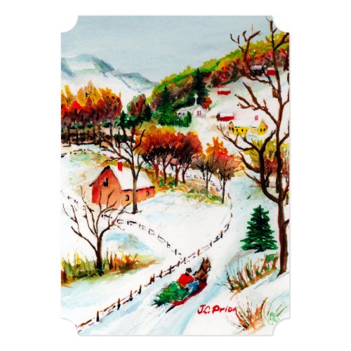Winter Sleigh Ride Mountain Christmas Watercolor 5x7 Paper Invitation Card
