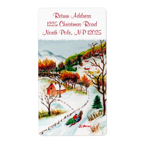 Winter Sleigh Ride Mountain Christmas Watercolor Shipping Label