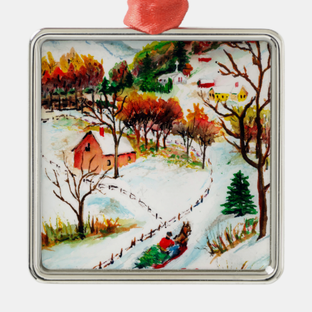 Winter Sleigh Ride Mountain Christmas Watercolor Christmas Tree Ornaments