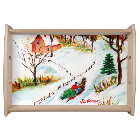 Winter Sleigh Ride Mountain Christmas Watercolor Serving Platter