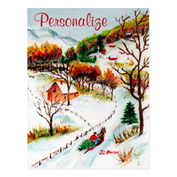 Winter Sleigh Ride Mountain Christmas Watercolor Postcard