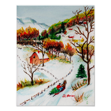 Winter Sleigh Ride Mountain Christmas Watercolor Poster