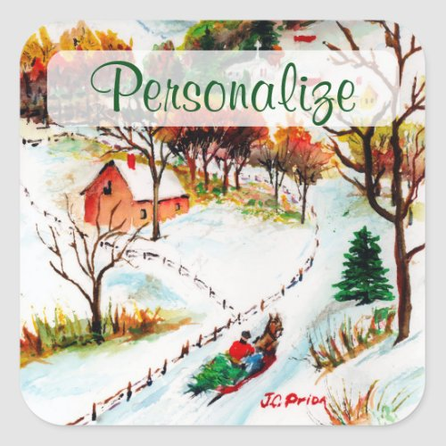 Winter Sleigh Ride Mountain Christmas Watercolor Square Sticker