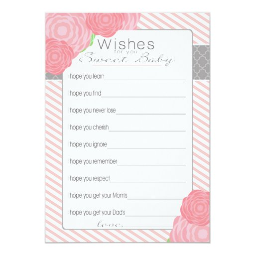 Baby Shower Message For Card: Wishes For Baby Shower Card. Pink Card