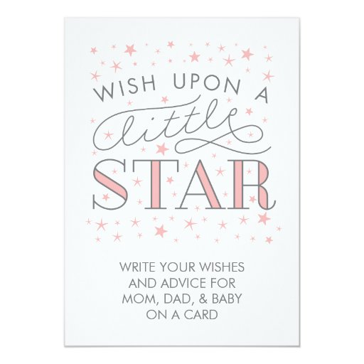 Baby Shower Message For Card: Wishes For Baby Wish On A Star Baby Shower Sign Card