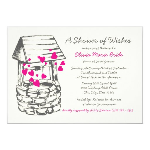 Wishing Well Bridal Shower Pink Hearts Card