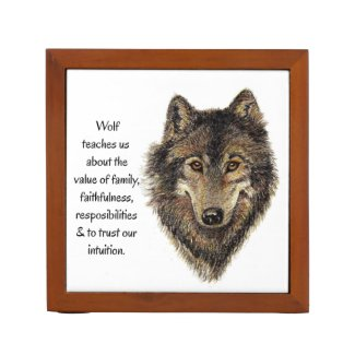 Wolf Totem Animal Guide Watercolor Nature Art Pencil/Pen Holder