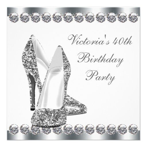 Womans Elegant Black 40th Birthday Party Personalized Announcements