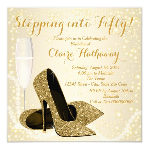 Womans Stepping Into Fifty Birthday Party Invitation