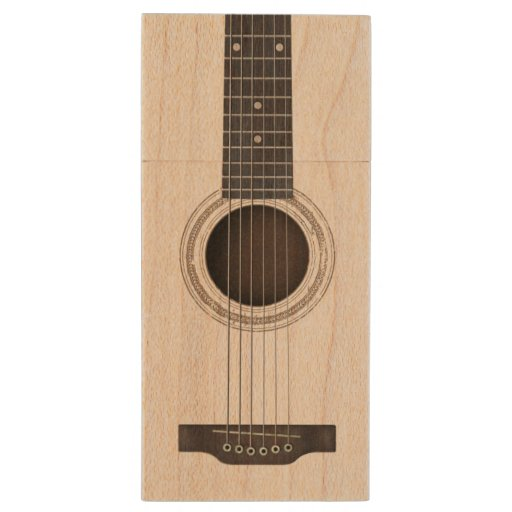 wood acoustic guitar strings and sound hole wood usb 2 0 flash drive zazzle. Black Bedroom Furniture Sets. Home Design Ideas