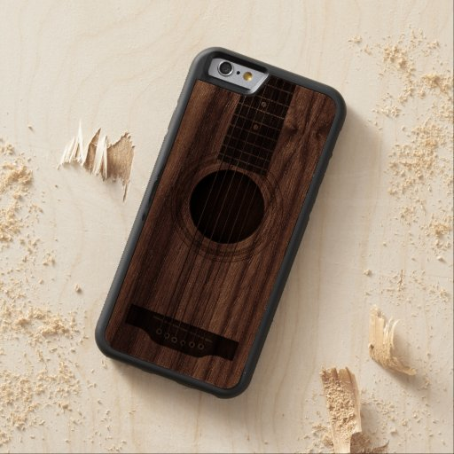 wood acoustic guitar strings and sound hole carved walnut iphone 6 bumper case zazzle. Black Bedroom Furniture Sets. Home Design Ideas