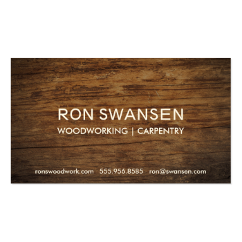 Wood-Look Dark Brown Masculine Simple Understated Business Card Template