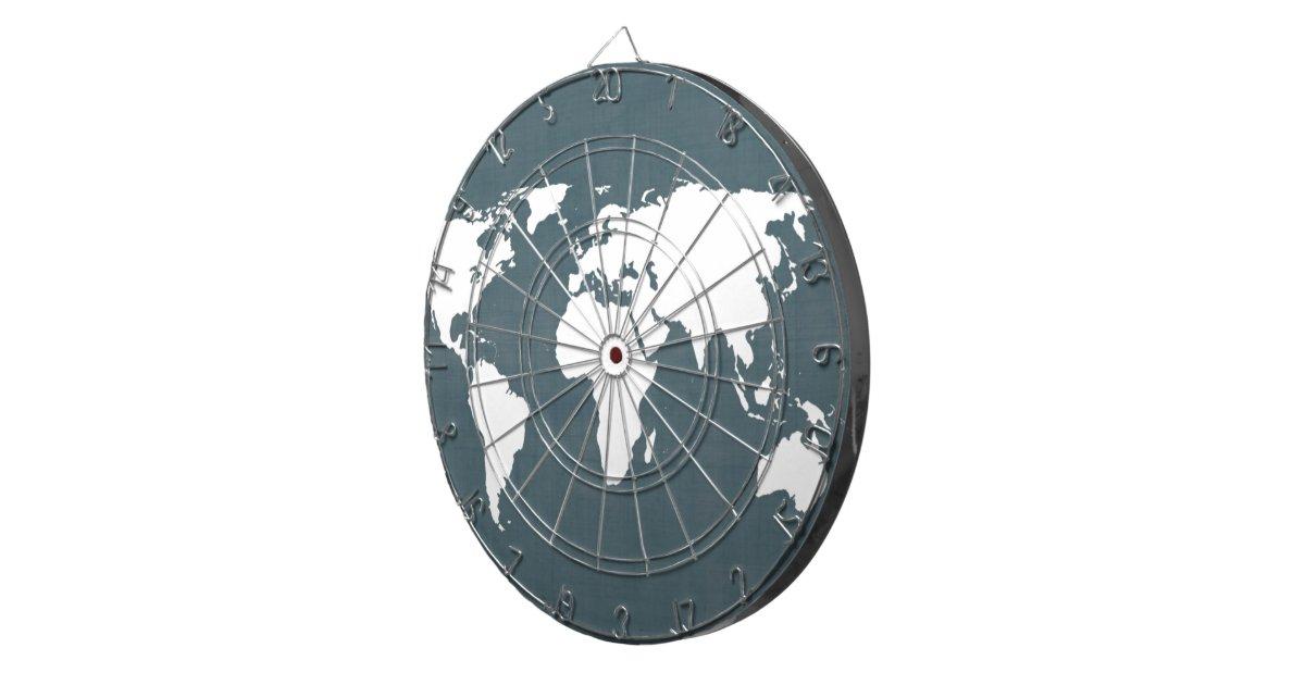 World Map . blue and white Dart Boards | Zazzle