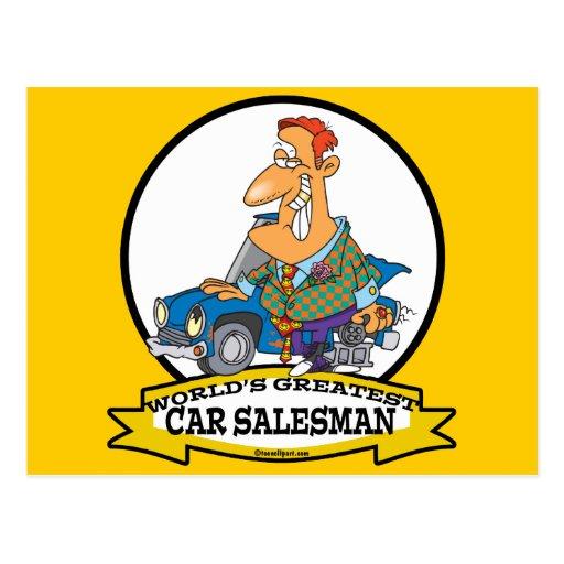 WORLDS GREATEST CAR SALESMAN II CARTOON POSTCARD | Zazzle