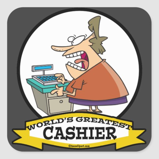 Cashier Cartoons: WORLDS GREATEST CASHIER WOMEN CARTOON SQUARE STICKER
