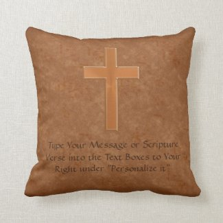 Write YOUR SCRIPTURE VERSE Cross Christian Pillows Pillow