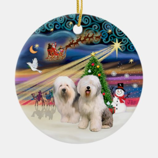 Old English (two) Christmas Tree Ornaments