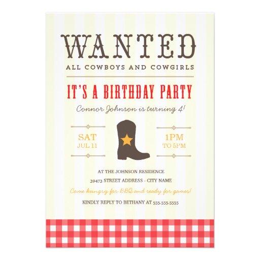 Personalized Western Theme Birthday Invitations