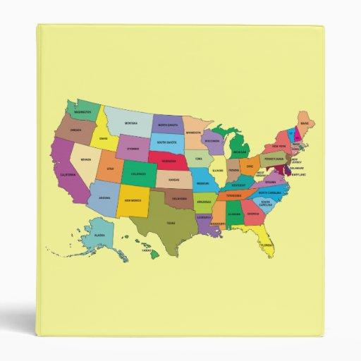 Yello Binder With United States Map
