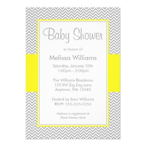 """Yellow And Gray Chevron Baby Shower Invitations 5"""" X 7"""