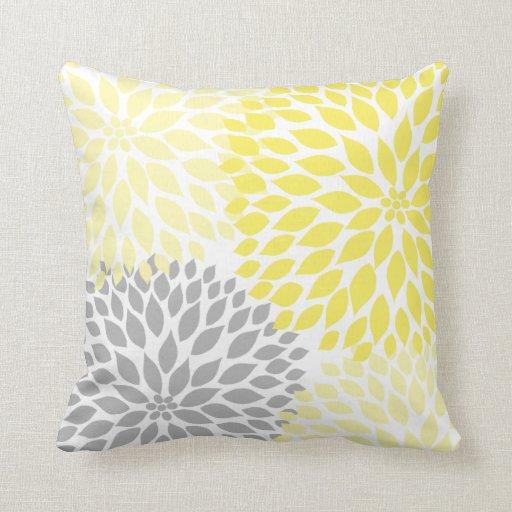 Yellow And Gray Dahlia Modern Decor Sofa Pillow Zazzle