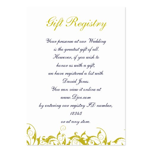 Wedding Gift Tax: Wedding Gift Registry Cards Business Card Templates