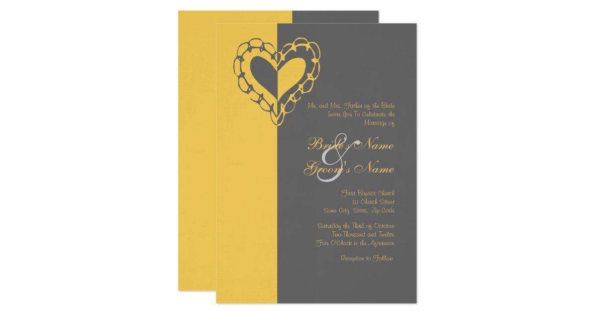 Yellow Grey Wedding Invitations: Yellow And Gray Heart Wedding Invitation