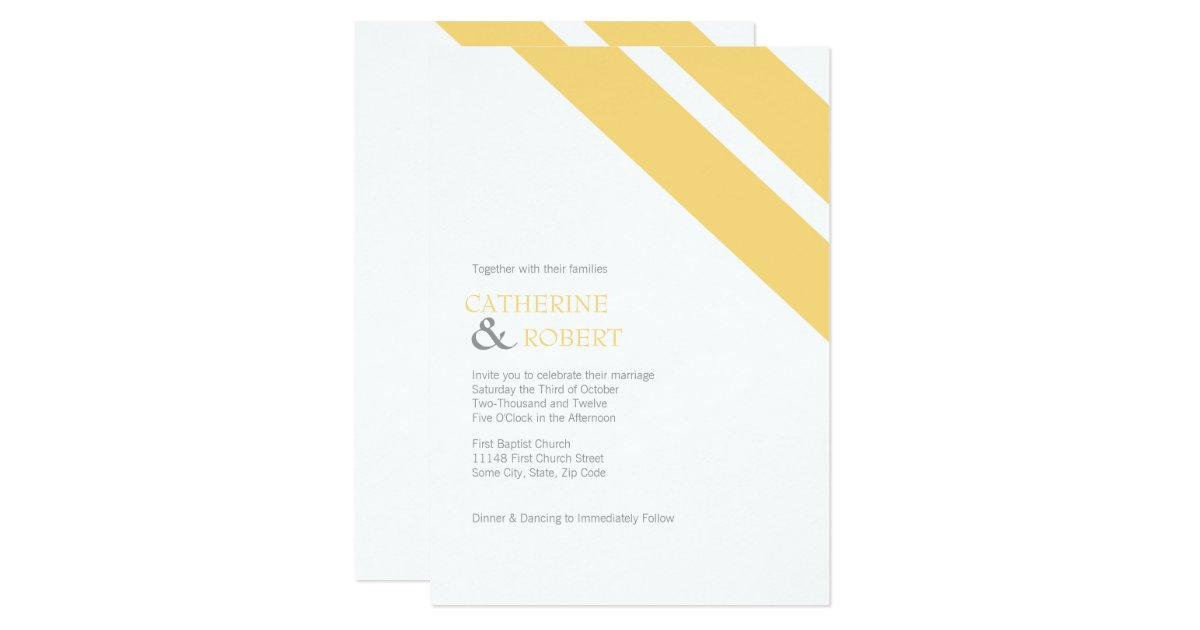 Striped Wedding Invitations: Yellow And Grey Striped Wedding Invitation