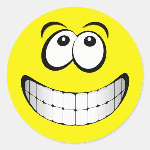 Yellow Big Grin Smiley Face Classic Round Sticker | Zazzle