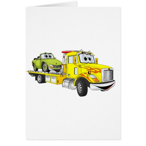 Yellow Cartoon Flatbed Tow Truck Card