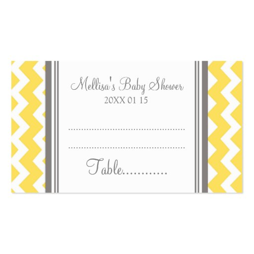 Yellow Chevron Baby Shower Table Place Setting Business