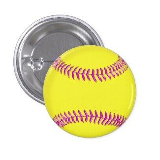 Yellow Custom Softball Pins Glassy Pink Threads