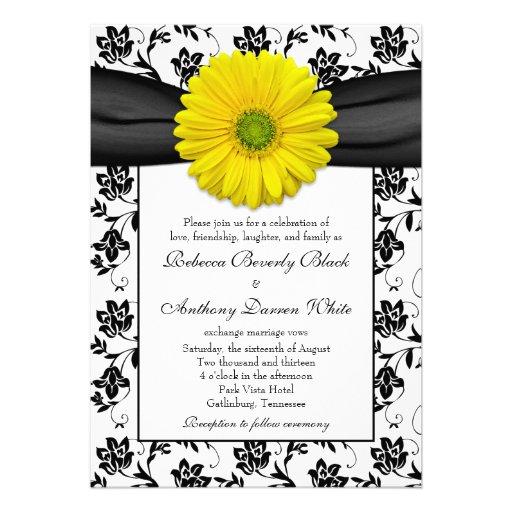"""White Daisy Wedding Invitation: Yellow Daisy Black White Floral Wedding Invitation 5"""" X 7"""