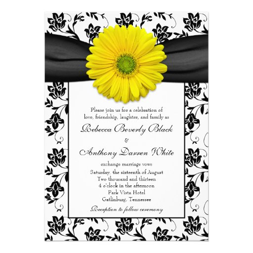 "Yellow Daisy Black White Floral Wedding Invitation 5"" X 7"